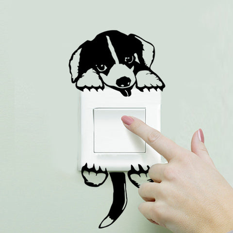 dog wall light switch sticker