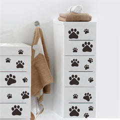 Paw Print stickers on dresser drawers
