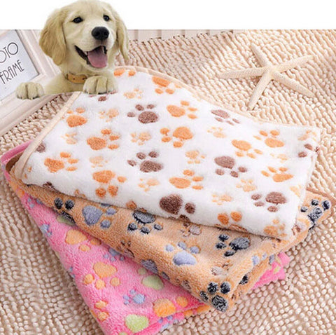 Dog Fleece Soft Blanket - Double Sided Paw Printed