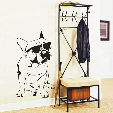 French Dog With Sunglasses Wall Decals