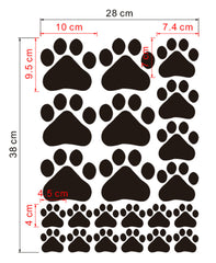 Paw Print Stickers showing Size