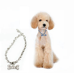 Stainless Steel Bones Crystal Dog Collar