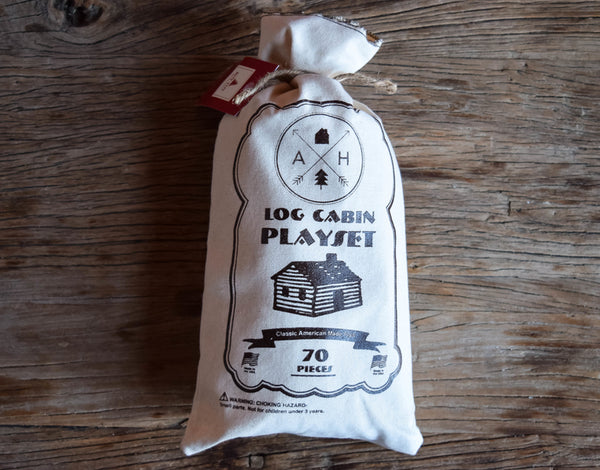 Log Cabin Building Set in Canvas Bag