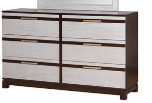 Cartier Contemporary Style Silver 6-Drawer Dresser - HD Furniture