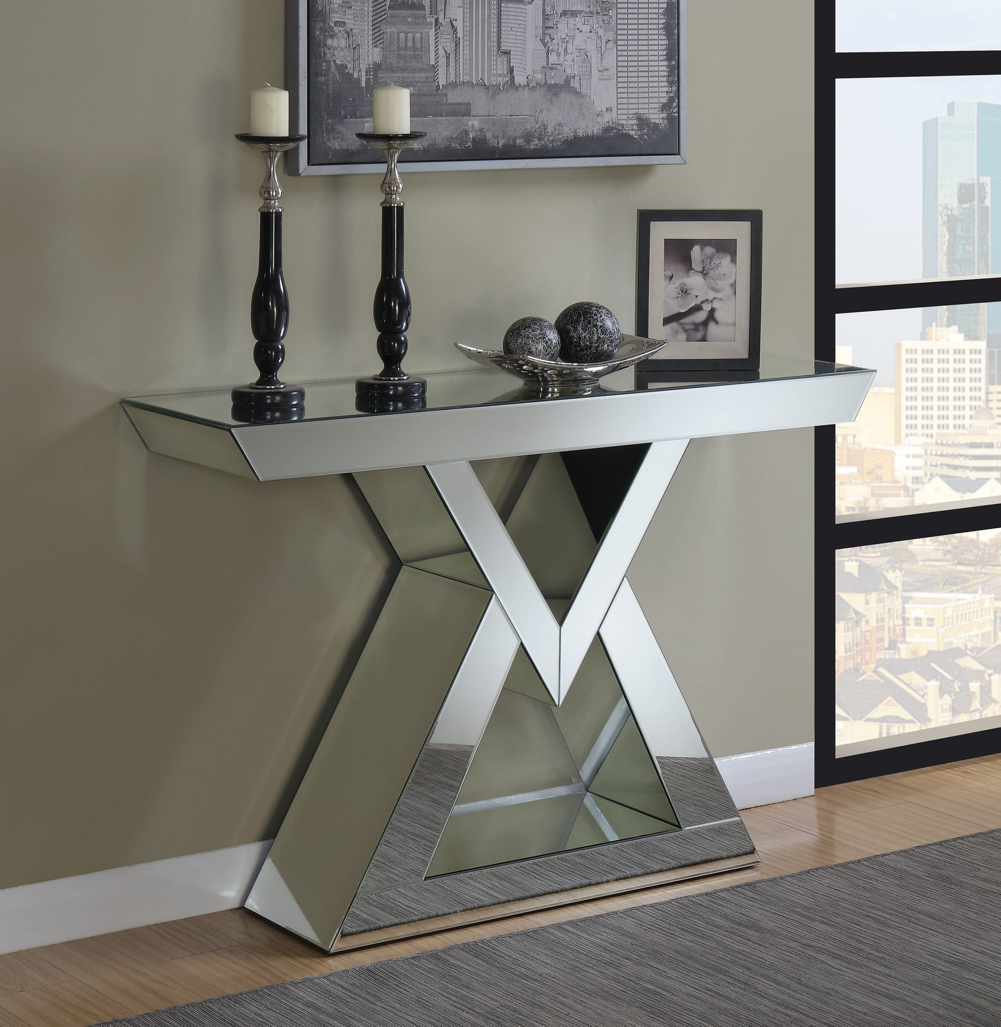 Console Table With Triangle Base Clear Mirror by Coaster
