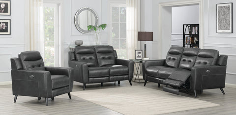 Lantana 3-Piece Power Living Room Set Charcoal