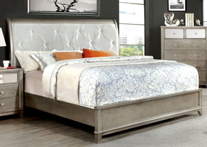 Robles Contemporary Padded Leatherette King Bed in Silver