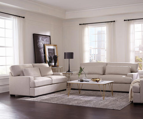 Becca 2-Piece Wide Track Arm Living Room Set Beige by Coaster - HD Furniture