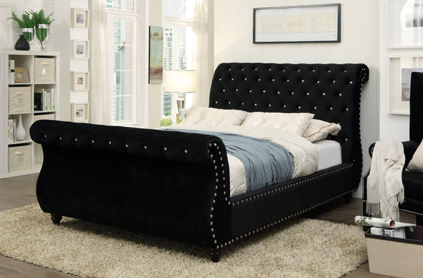 Shirley Contemporary Style California King Sleigh Bed in Black