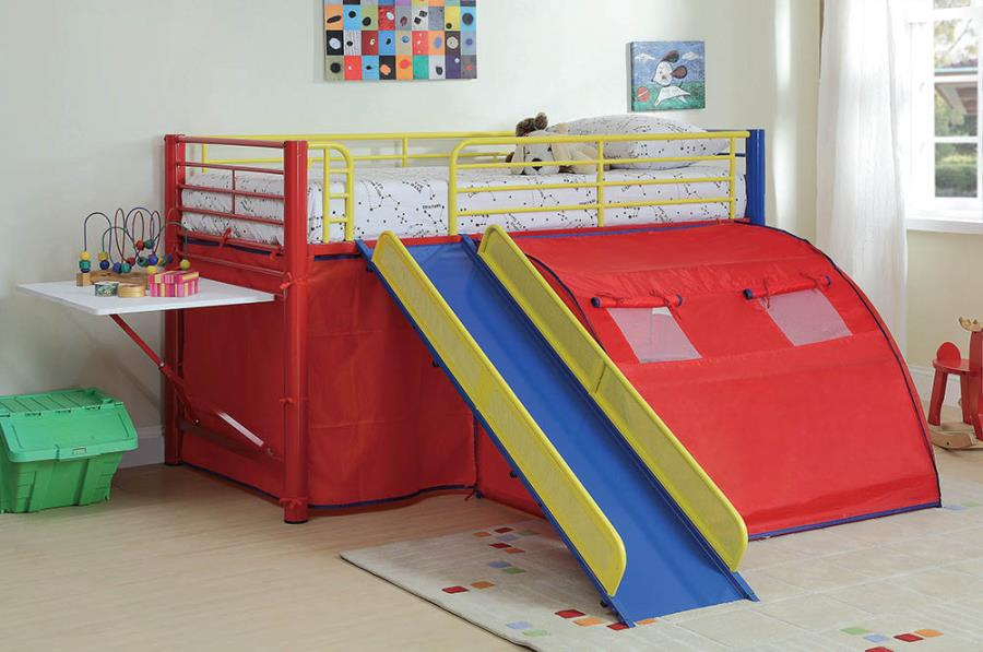 Multi-Color Themed Red, Blue, And Yellow Loft Bed By Coaster