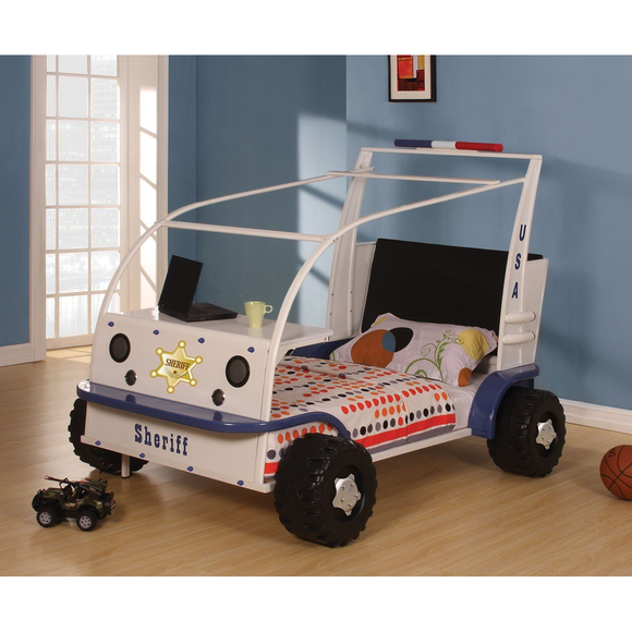 ACME 37290T SASHI WHITE AND BLUE TWIN CAR BED - HD Furniture