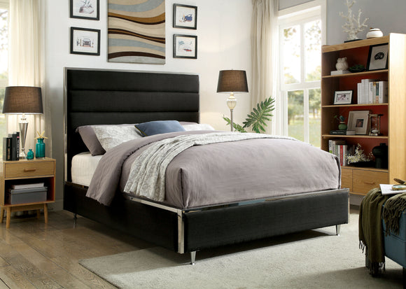 Ballista Contemporary Metal Trim King Tufted Fabric Bed In Black - HD Furniture