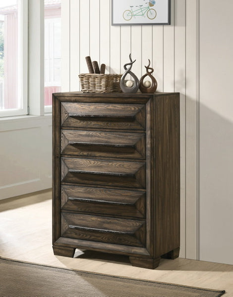 Preston 5-Drawer Chest Rustic Chestnut
