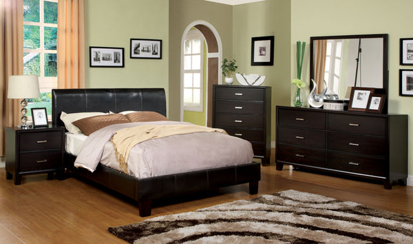 Acisco Contemporary Padded Leatherette Cal. King Platform Bed - HD Furniture