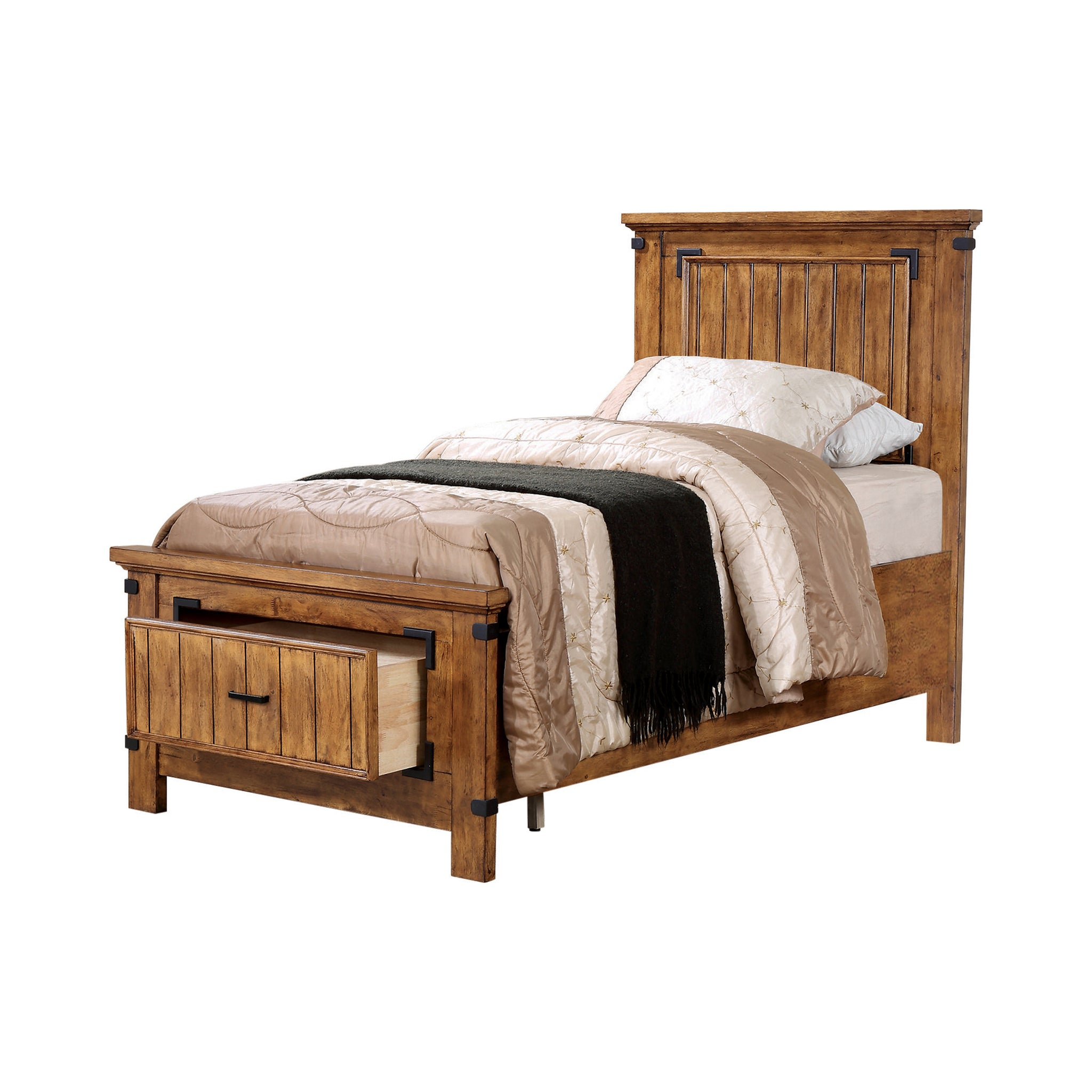 Brenner Rustic Honey Twin Bed By Coaster