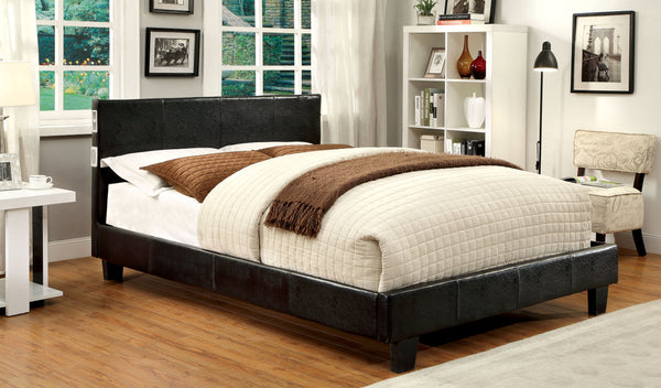 Damonica Contemporary Padded Leatherette Full Platform Bed with Bluetooth - HD Furniture