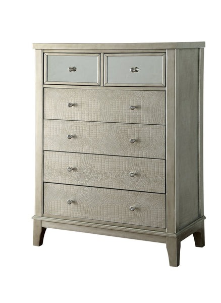 Marynna Transitional Style Silver, 6-Drawer Chest