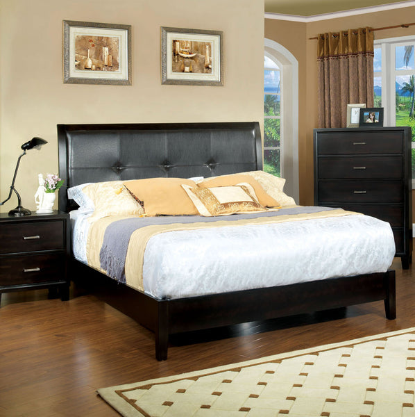 Noriah Contemporary Padded Leatherette Queen Platform Bed