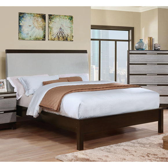 Cartier Contemporary Style Silver Upholstered Queen Bed - HD Furniture