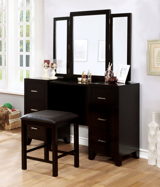 Erika Contemporary Espresso Multi-drawer Vanity with Stool
