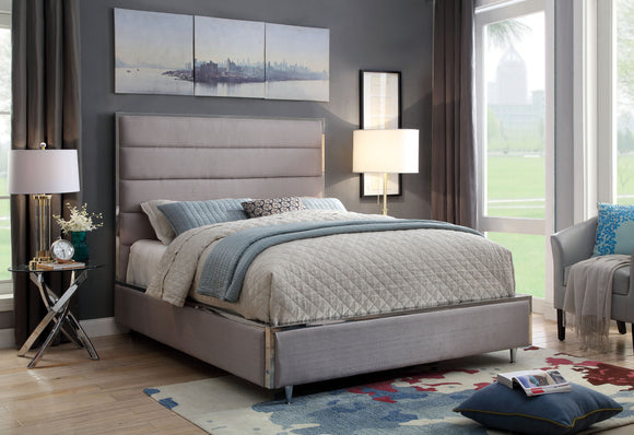 Ballista Contemporary Metal Trim Cal. King Tufted Fabric Bed In Gray - HD Furniture