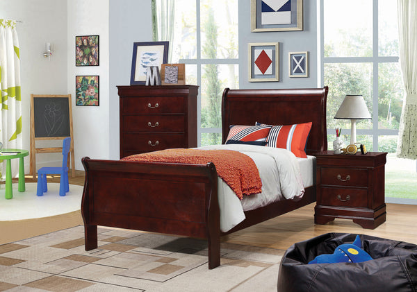 Louis Philippe Twin Panel Sleigh Bed Cherry