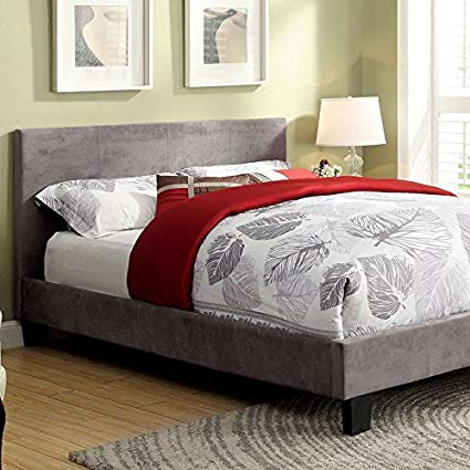 Ameena Contemporary Fabric Upholstered King Platform Bed in Gray - HD Furniture