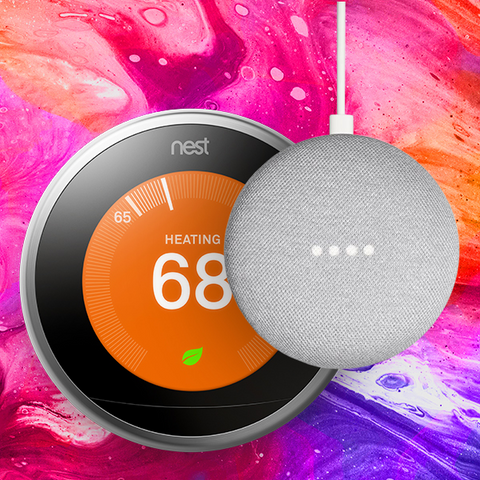 Nest Labs T3008US+HOMEMINICHARCOAL Learning Thermostat (Silver/3rd Gen.) & Google Home Mini (Charcoal) - BUN2 XQS