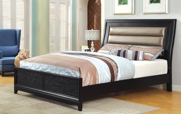 Valdez Contemporary Leatherette Headboard Queen Bed