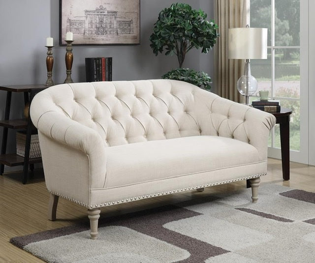 Tufted Back Settee With Roll Arm Natural By Coaster