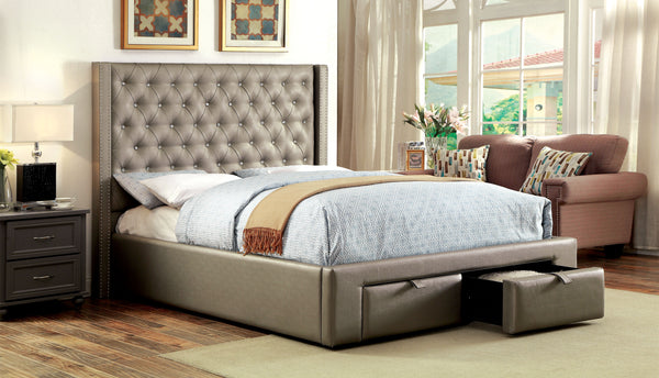 Chavira Contemporary Leatherette Footboard Storage Cal. King Platform Bed - HD Furniture