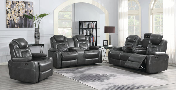 Korbach 3-Piece Power^2 Living Room Set Charcoal by Coaster