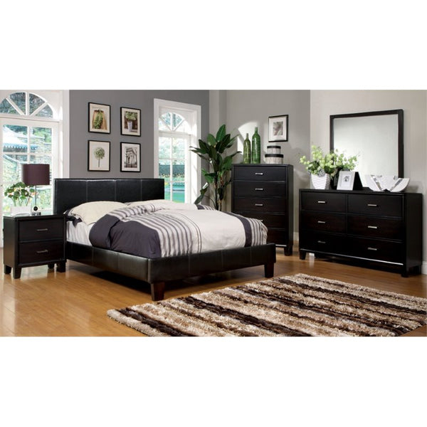 Ameena Contemporary Leatherette Cal. King Platform Bed in Espresso - HD Furniture