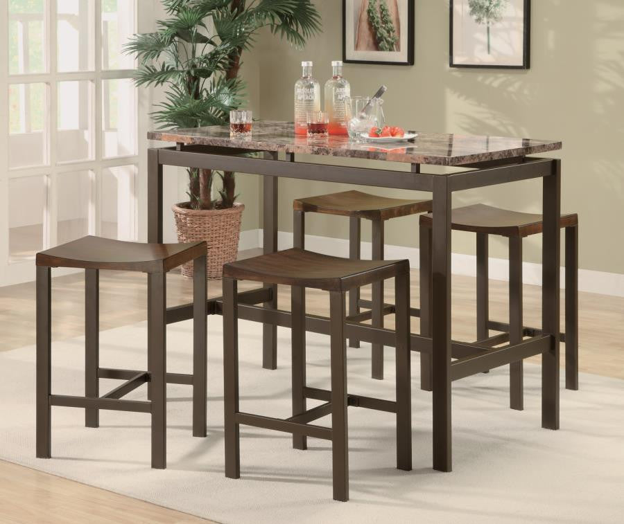 5-Piece Counter Height Table by Coaster - HD Furniture