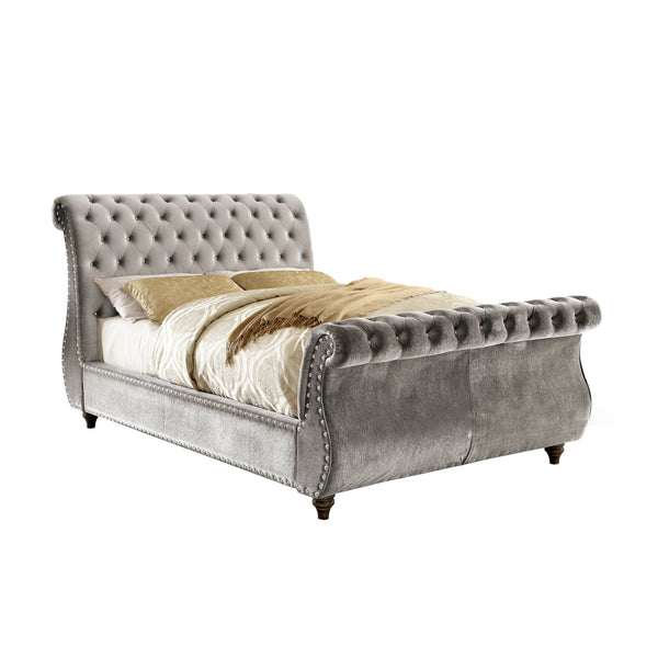 Shirley Contemporary Style California King Sleigh Bed in Grey