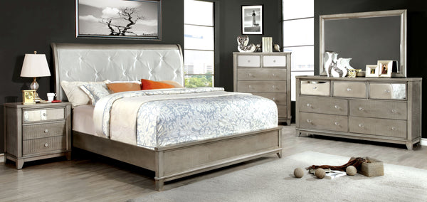 Robles Contemporary Padded Leatherette Bed in Silver