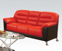 Sibba Red & Black PU Sofa