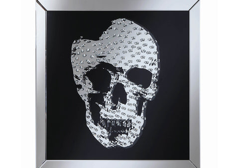 Wall Mirror With Jeweled Skull Black By Coaster
