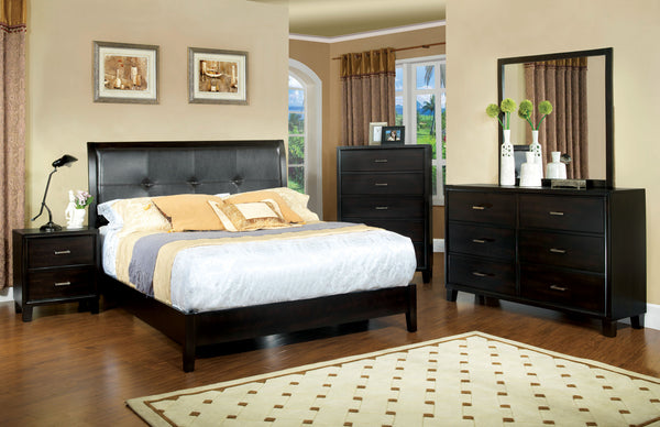 Noriah Contemporary Style Espresso Padded Leatherette California King Platform Bed