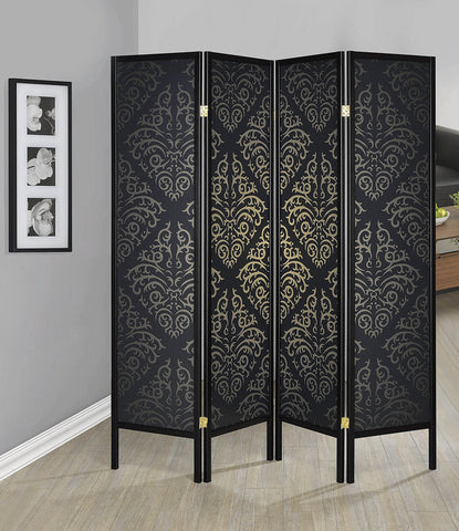 4-Panel Damask Pattern Folding Screen Black By Coaster