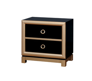 Jaipur Contemporary Black and Gold Nightstand