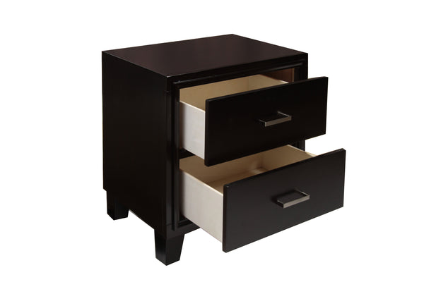 Erika Contemporary Espresso 2-drawer Nightstand