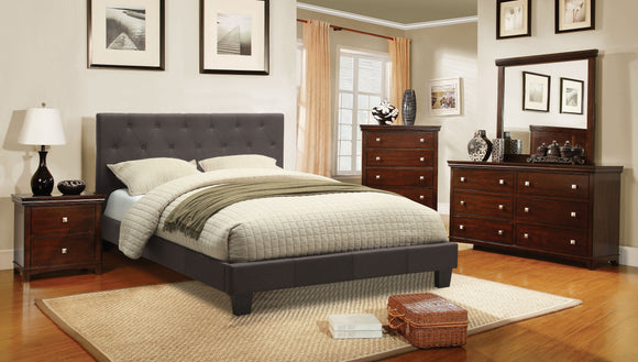 Valdimar Contemporary Tufted Fabric Queen Platform Bed in Gray