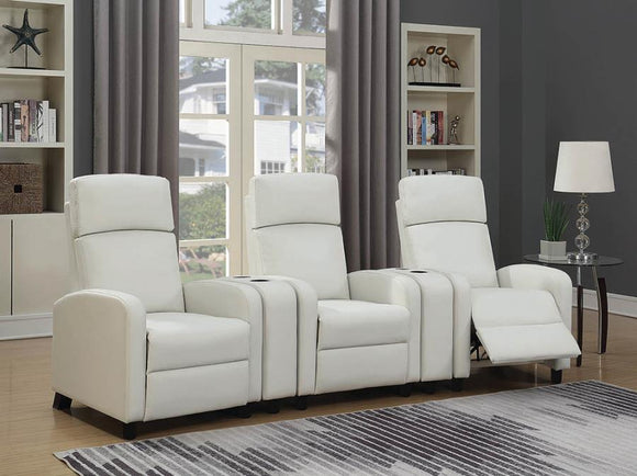 Amelia Push Back Recliner White By Coaster
