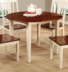 Cassy Transitional Round Dining Table, Vintage White - HD Furniture
