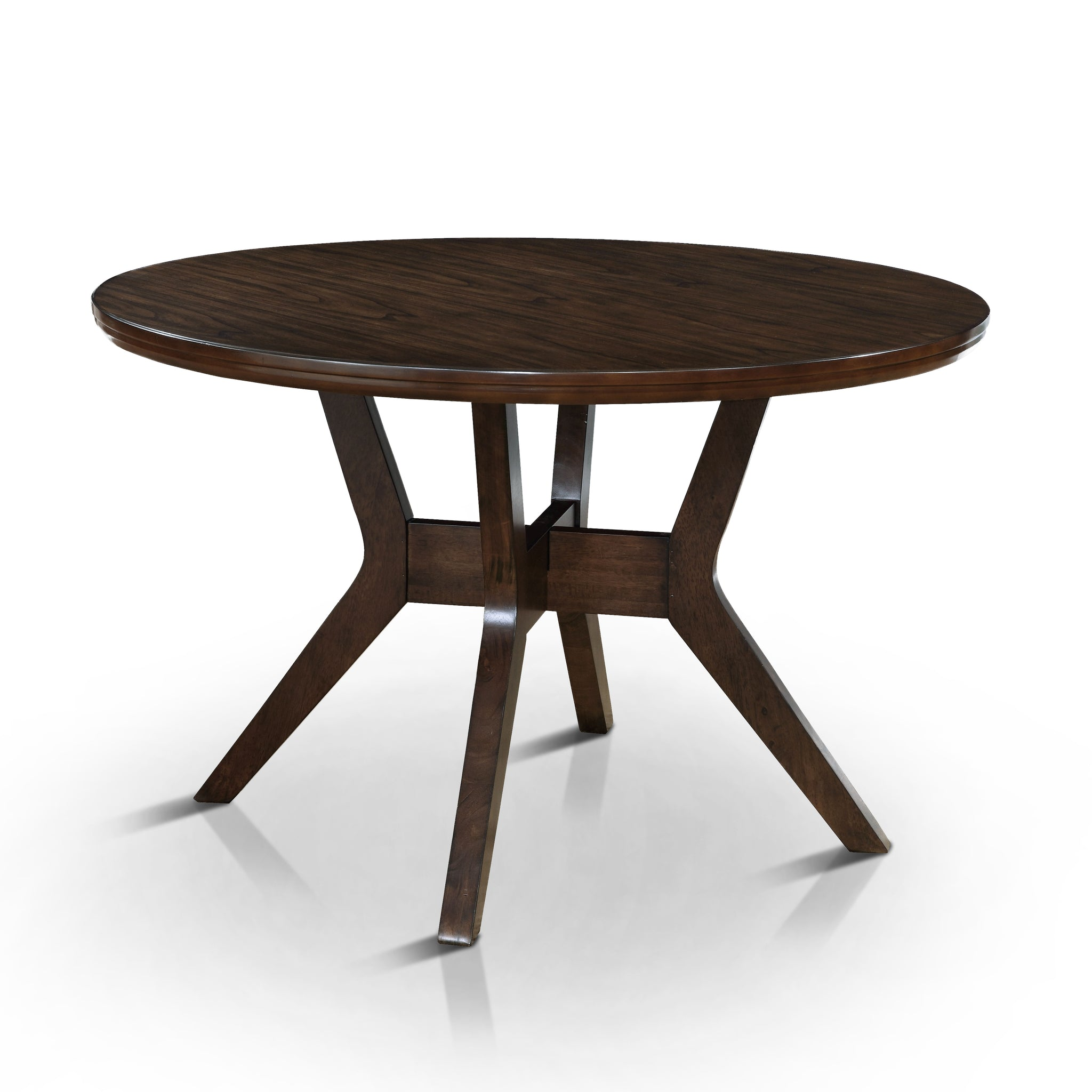 Joplin Mid-Century Modern Round Dining Table, Walnut