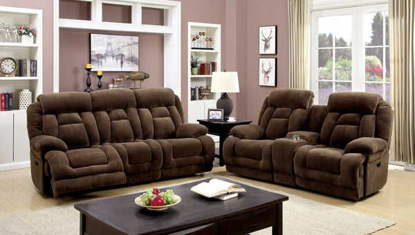 Rachel Transitional Flannelette Power Assisted Sofa Recliner, Brown