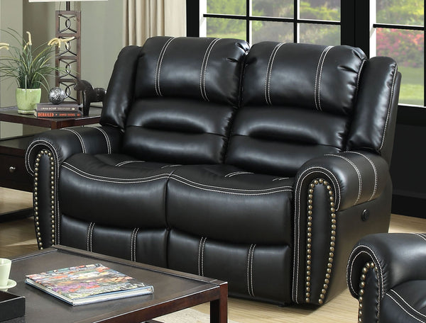 Phoebe Transitional Breathable Leatherette Power Assisted Recliner Loveseat, Black
