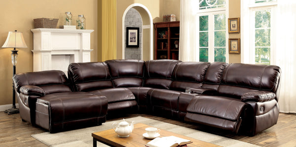 Gesmin Transitional Breathable Faux Leather Sectional Recliner, Brown