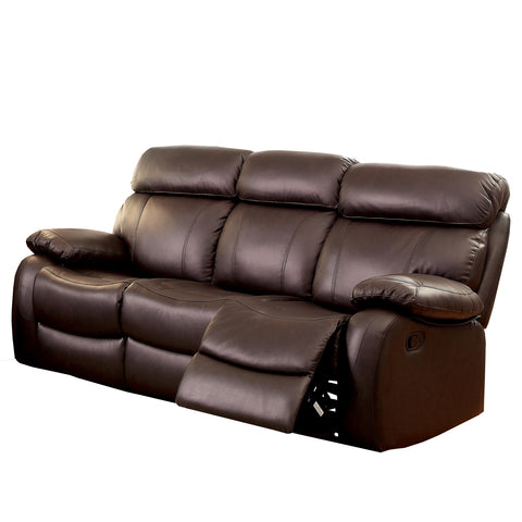 Monica Transitional Top-Grain Leather Loveseat Recliner, Brown